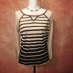 Cynthia Rowley Striped Beige & Black Sweater
